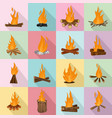 bonfire night fire icons set flat style vector image vector image
