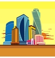 Buildings high-rise cityscape sunset vector image vector image