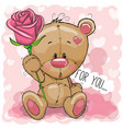 cartoon bear with flower on a pink background vector image vector image