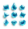 cartoon blue different shapes crystals vector image vector image