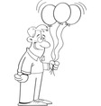 Cartoon man holding balloons vector image vector image