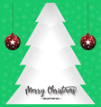 christmas pine tree and ornaments with green vector image vector image