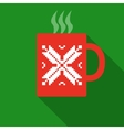 Christmas Red Mug With Hot Drink vector image vector image