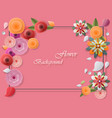 colorful paper flowers and greeting card frames vector image vector image