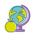 Earth plenet desk with apple fruit