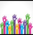 Education icons on up hand vector image