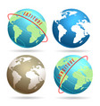 globe word map emblem set vector image