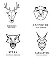 great kingdoms houses gaming heraldic icons with vector image vector image