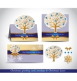 Greeting cards with golden ornate winter tree vector image vector image