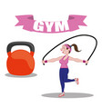 gym fitness woman jump rope barbell vector image