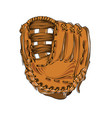 hand drawn sketch of baseball glove in color vector image vector image