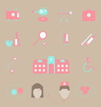 Hospital and emergency color icons on brown vector image vector image