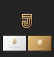 j letter monogram linear gold identity vector image