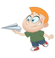 kid with paper plane vector image vector image