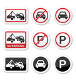 No parking parking forbidden red and black sign vector image