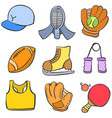object sport various of doodle style vector image