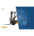 outline blueprint of forklift top side and front vector image vector image