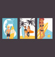 people with surfboards set vector image