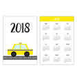 pocket calendar 2018 year week starts sunday taxi vector image vector image