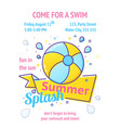 pool party poster with inflatable ball and splash vector image vector image
