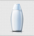 realistic transparent plastic shampoo bottle vector image