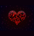 red glowing heart with the contours of vector image vector image