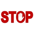 Red stop inscription vector image vector image