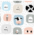 seamless childish pattern with milk elementscows vector image