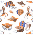seamless pattern with cute crab shell and lobster vector image