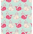 seamless pattern with cute wales vector image vector image
