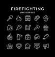 set line icons firefighting vector image