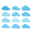 set of clouds with different types of pencil vector image vector image