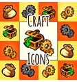 set of craft icon chest gear bag with gold vector image