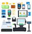 set payment tools icons flat vector image
