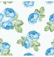 shabby chic blue rose seamless pattern on white vector image vector image