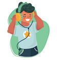 smiling boy kid listening to music vector image vector image