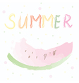 Summer card with watermelon - watercolor design vector image vector image