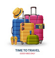 travel concept with suitcases sunglasses hat vector image