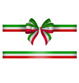 tricolor bow and ribbon green white and red bow vector image vector image