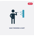 two color man throwing a dart icon from people vector image vector image