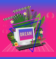 vaporwave statue with computer and leaves 3d vector image