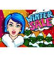 winter sale message in pop art style vector image