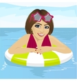 woman at swimming pool with inflatable ring vector image