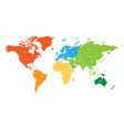 world map divided into six continents each vector image vector image