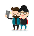 young hipster man and woman couple vector image