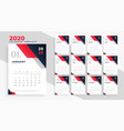 2020 new year calendar in geometric business vector image