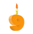 9 years birthday number with festive candle for vector image vector image