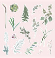 bright style set stickers with garden herbs vector image