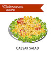 caesar salad with whole tomatoes and cube crackers vector image vector image