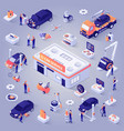 car service isometric projection icons set vector image vector image